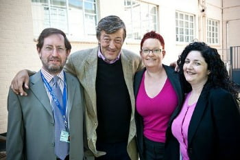 sue black with stephen fry, simon greenish and kelsey griffin