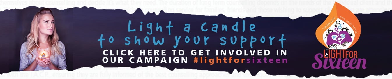 #lightfor16 banner tipperary rape crises cente